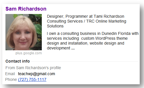 Author profile example as shown in Google results sidebar
